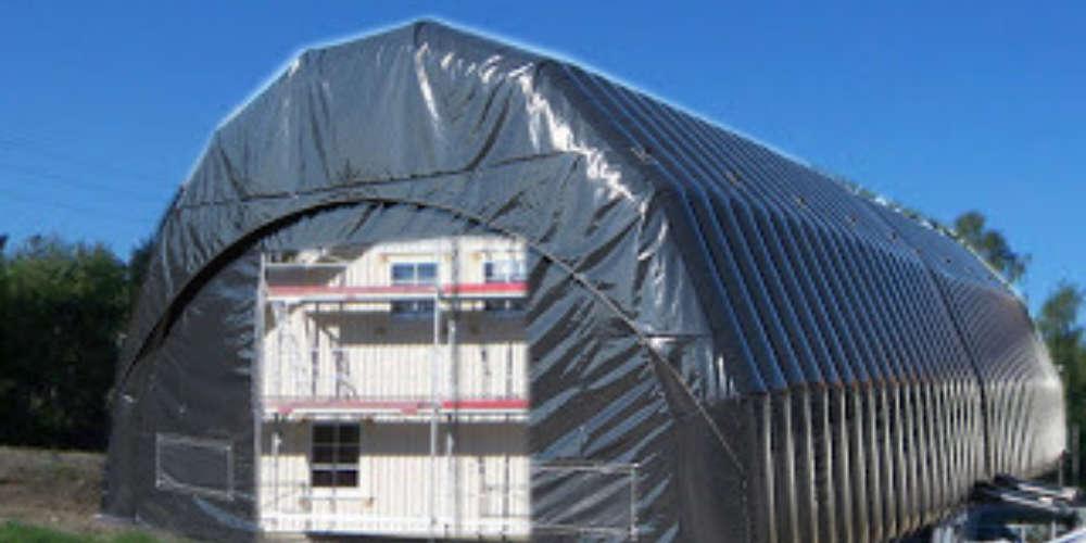 oppblasbare arbeidstelt plasthall byggtelt 18 over hus