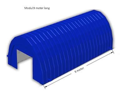 Byggtelt arbeidstelt lende moduler 9 meter lang