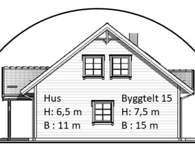 Skisse tverrsnitt byggtelt 15 over halvannen etasje hus