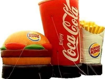oppblåsbår reklame produkt kopi burger meny
