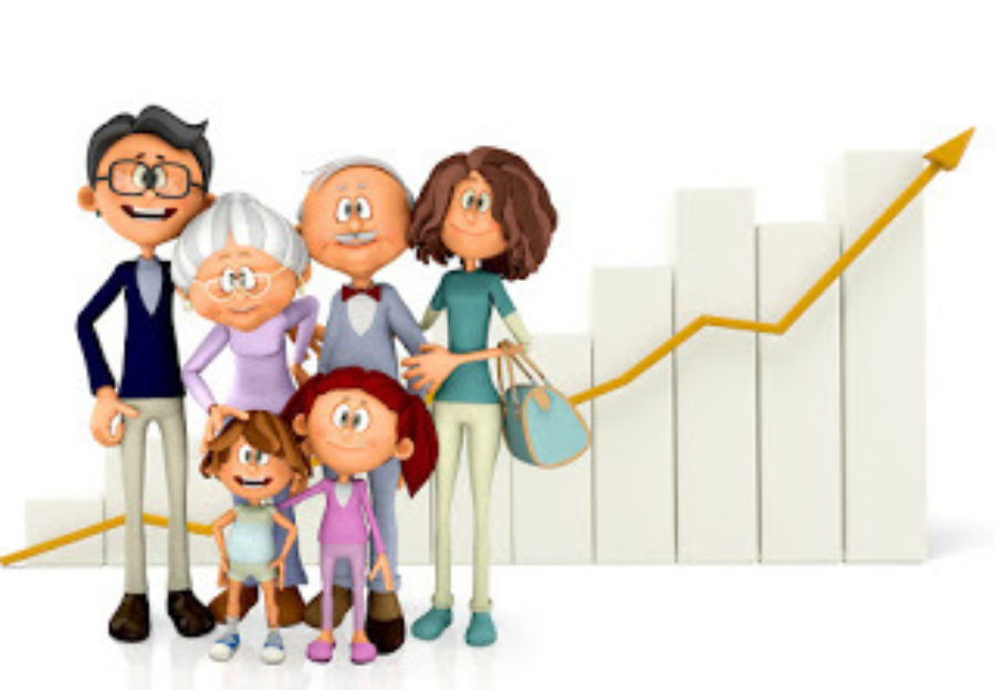 Family with a growth graph isolated over a white background